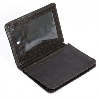 Rakuda Genuine Leather Credit Card Holder ID Window Brown Wallet
