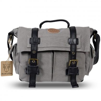 Rakuda Assistant Fashion Canvas Shoulder Camera Bag - Leather (Gray)