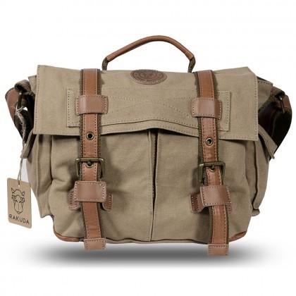 Rakuda Assistant Fashion Canvas Shoulder Camera Bag - Leather (Khaki)
