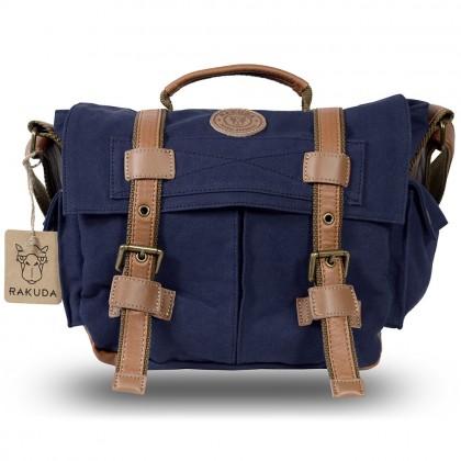 Rakuda Assistant Fashion Canvas Shoulder Camera Bag - Leather (Navy)