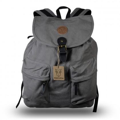 Rakuda Santorini Canvas Rough Backpack Washed Leather Gray
