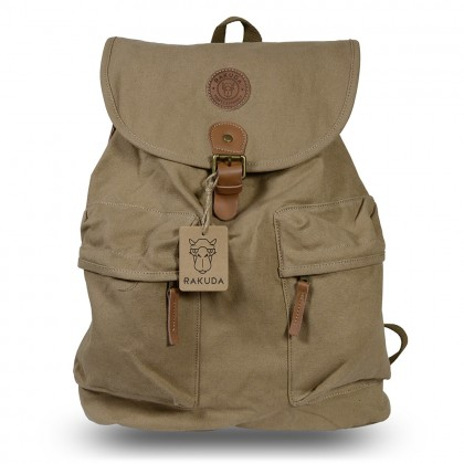 Rakuda Santorini Canvas Rough Backpack Washed Leather Khaki