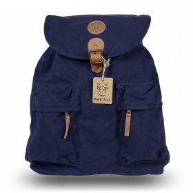 Rakuda Santorini Canvas Rough Backpack Washed Leather Navy