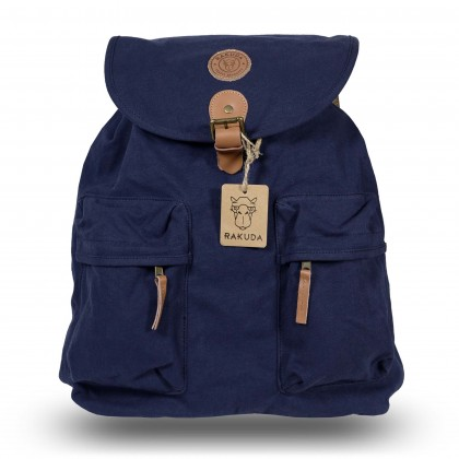 Rakuda Santorini Canvas Rough Backpack Washed Leather Navy
