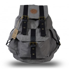 Rakuda Cargo Vintage Canvas Travel Backpack Washed Leather Gray