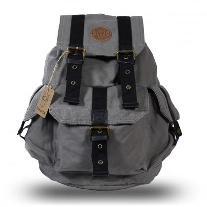 Rakuda Cargo Vintage Canvas Travel Backpack Washed Leather Gray