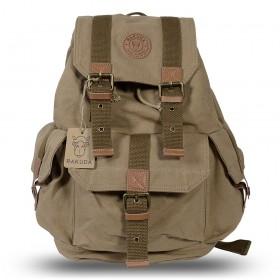 Rakuda Cargo Vintage Canvas Travel Backpack Washed Leather Khaki
