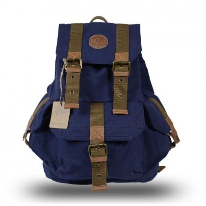 Rakuda Cargo Vintage Canvas Travel Backpack Washed Leather Navy