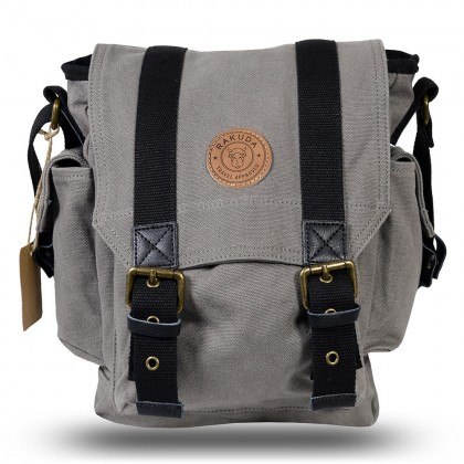 Rakuda The Messenger Canvas Shoulder Bag Washed Leather Gray