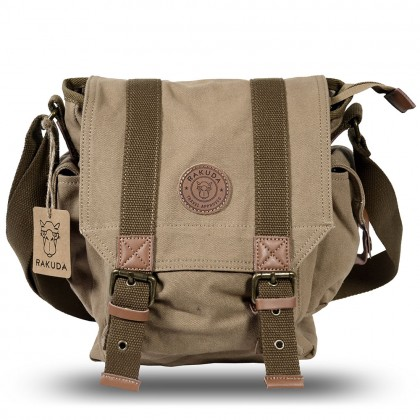 Rakuda The Messenger Canvas Shoulder Bag Washed Leather Khaki