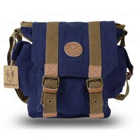 Rakuda The Messenger Canvas Shoulder Bag Washed Leather Navy