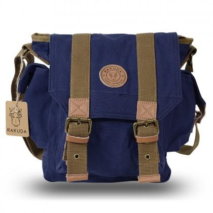 Rakuda The Messenger Canvas Shoulder Bag Washed Leather Navy
