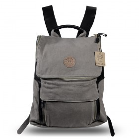 Rakuda Companion Canvas Travel Backpack Non-Washed Leather Gray