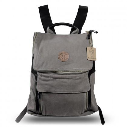 Rakuda Companion Canvas Travel Backpack Non-Washed Leather Gray