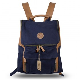 Rakuda Companion Canvas Travel Backpack Non-Washed Leather Navy